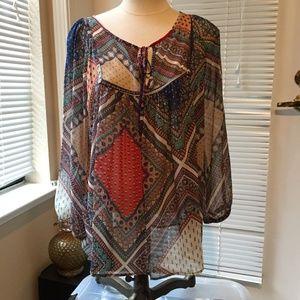 NWOT Colorful gauzy Glam bohemian blouse